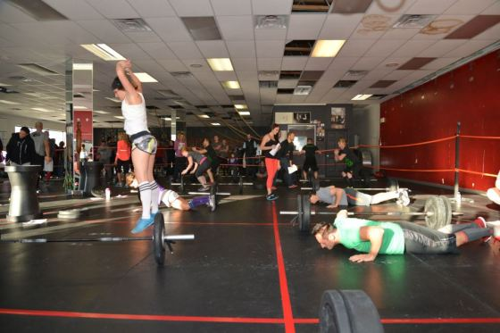 Love this picture. Jen getting some serious air on her burpee during the Angels for Alex WOD.