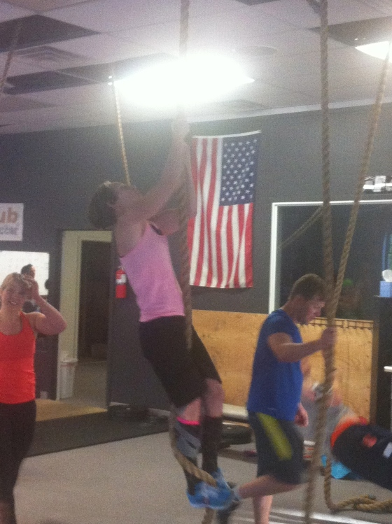 Love this!! 60+ year old Peggy doing all 5 rope climbs during the WOD on Wednesday! Stop making excuses.