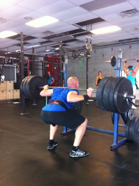 Good News: David has a new PR on his back Squat @#405. Bad News: It made his head shrink! Nice work David!!!