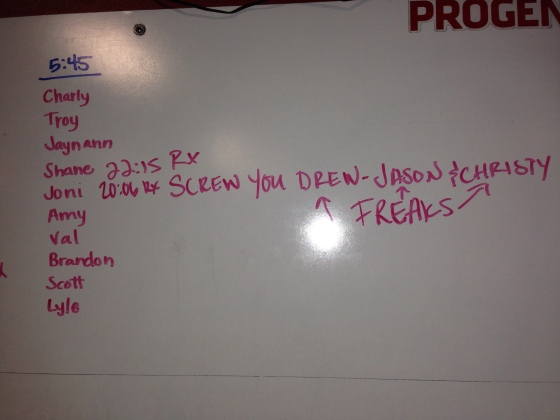 MY favorite thing about CrossFit is the sense of family and community. We love and support each other unconditionally.  Look at this sweet note that was left on the board Tuesday night from one of our members to three of our best athletes.