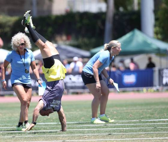 Allen Duarte (50) walked 130 feet on his hands in the Max Distance Event, the farthest of any male masters athlete in the 50-54 Division.