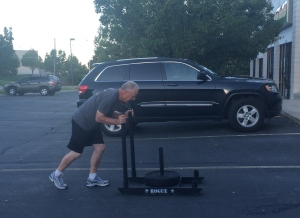 I love pulling up the gym first thing in the morning and seeing my dad (74) pushing a sled!
