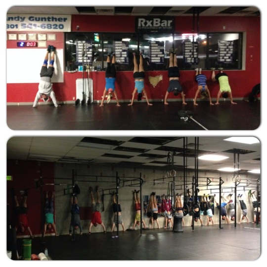 Tabata handstand holds, it's a beautiful sight. 5:30am class in perfect form except for Dan.