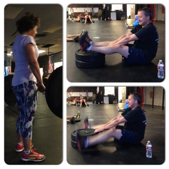 "Monie killing  the workout in her ""fancy pants"" and Dave Killing the core work!!"